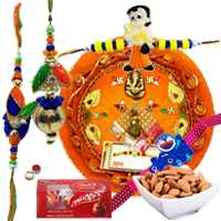 All in One Combo Of Family Rakhi Set With Rakhi Thali, Almonds N Lindt Chocolate