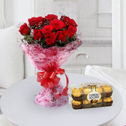 12 Exclusive <font color =#FF0000> Dutch Red </font>   Roses  Bouquet with 16 pcs Ferrero Rocher