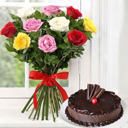 Dozen Assorted Roses n Cake