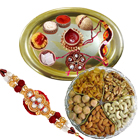 Special Assorted Dry Fruits Hamper with Gold Plated Thali along free Rakhi , Roli Tilak and Chawal