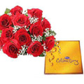 12 Red Roses with Cadbury celebration