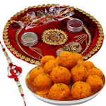Admirable Combo of Tasty Motichoor Ladoo, Beautiful Rakhi Tray and One Trendy Rakhi for Raksha Bandhan