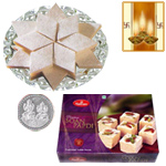 Kaju Katli, Soan Papdi and Silver Plated Coin